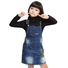 Girl  Spring Dress Child Cowboy Suspender Dress Children's shoulder-straps Denim Clothes