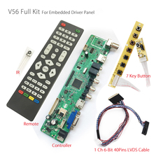 V56 Universal LCD TV Controller Driver Board PC/VGA/HDMI/USB Interface+7key Button+1ch 6-bit 40pins lvds For embedded driver lcd(China)