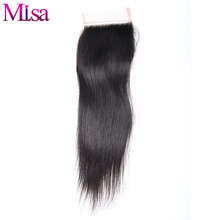 Mi Lisa Malaysian Straight Hair Closure 4x4 Free Part Natural Color With Baby Hair Bleached Knots Remy Human Hair Free Shipping