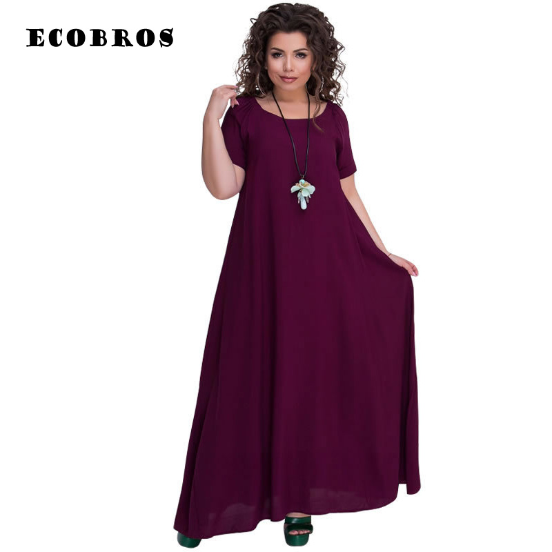 Big size 6XL 2018 Autumn Women dress Casual short sleeve loose long dresses  plus size 6xl d3763d16accc