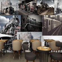 photo wallpaper Europe the United States retro nostalgic locomotive coffee shop bar back wall mural custom wallpaper(China)