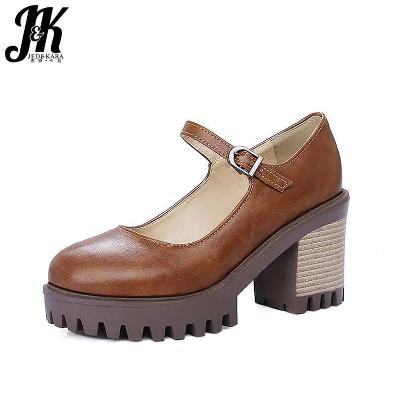 J&amp;K 2017 New Arrival Thick Heel High Heels Shoes Woman Skid Proof Women Pumps Platform Women Shoes Sexy Casual Mary Jane Shoes<br>