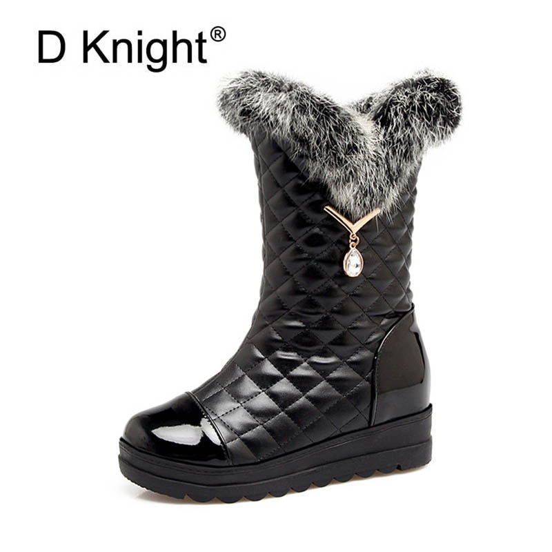 New Fashion Ladies Plaid Platform Wedges Winter Boots Luxurious Rabbit Fur Snow Boots For Women Female Casual Mid-Calf Boots<br>