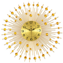 Creative gold babysbreath wrought iron set auger wall clock/ Fashionable clocks/ Modern aluminum plate quartz clock
