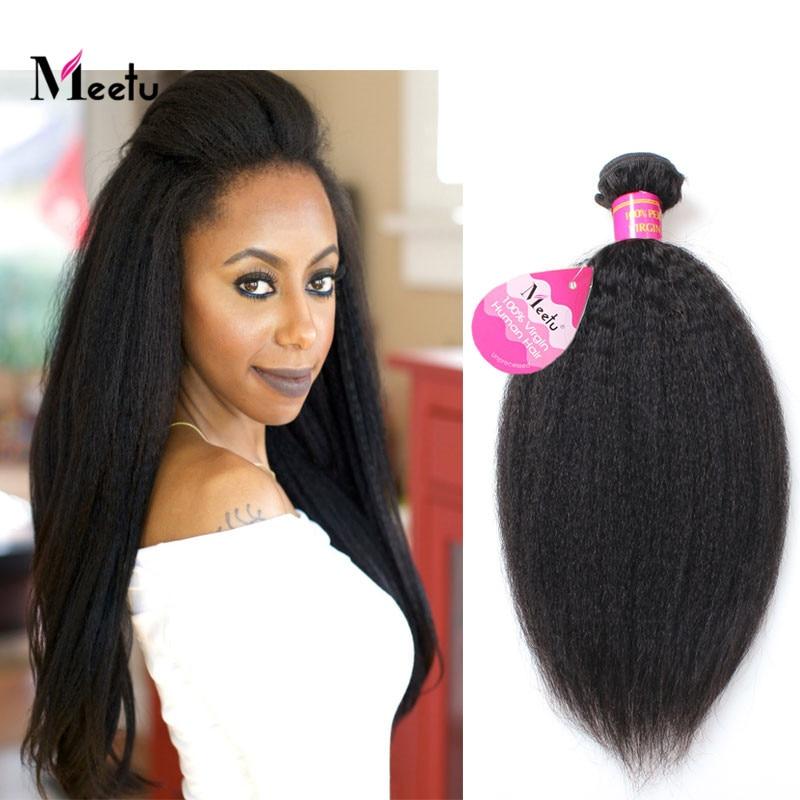 Natural Color Coarse Yaki Straight Virgin Hair Weave Bundles 8A Grade Brazilian Virgin Yaki Straight Ture length Fast Shipping<br><br>Aliexpress