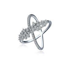 Free shipping NJ brand usa popular zircon flower cross 925 sterling silver rings for women cheap wholesale size 6 7 8 9(China)