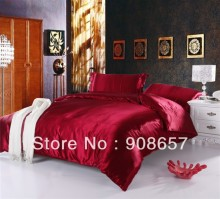 burgundy luxurious Smooth Shiny imitated silk satin fabric bed linen girls bedding comforter queen/full quilt duvet covers set
