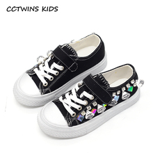 CCTWINS KIDS 2017 Baby Girl Rhinestone Black Trainer Toddler Canvas Children Brand Kid Fashion Crystal Casual White Shoe F1633