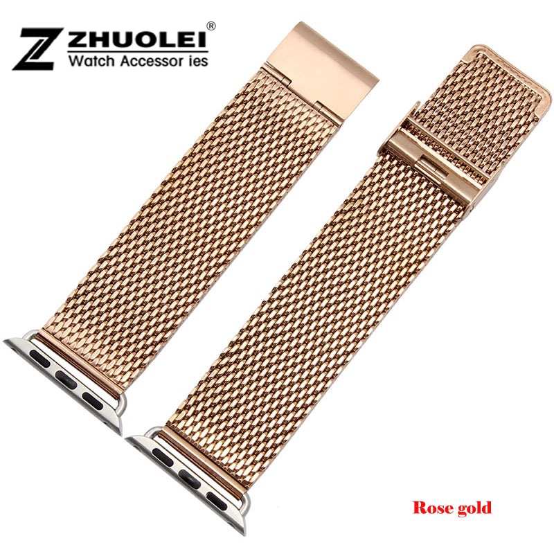 38mm 42mm New Pink gold Mesh Stainless steel Watch Band Strap Adapter For Apple Watch iWatch + Watch Band Connector Adapter<br><br>Aliexpress
