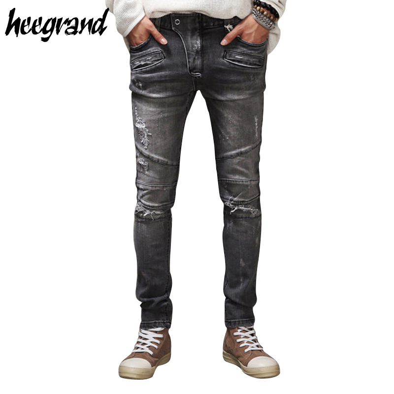 HEE GRAND Men Jeans 2017 New Design Mens Biker Jean Destroyed Hole Ripped Fashion Pants Male Street Wear Cool Trousers MKN897Одежда и ак�е��уары<br><br><br>Aliexpress