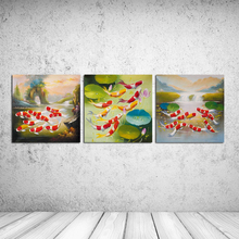 3PCS Carp in the pool Koi goldfish pond Wall Vintage Oil Painting Prints on Canvas Landscape Pictures Home Decor Cuadros