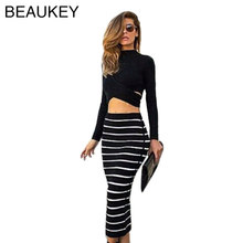 2015 Mid Calf Two Pieces Black And White Zebra Strips Mid Length Long Sleeve Bandage Dress(China)