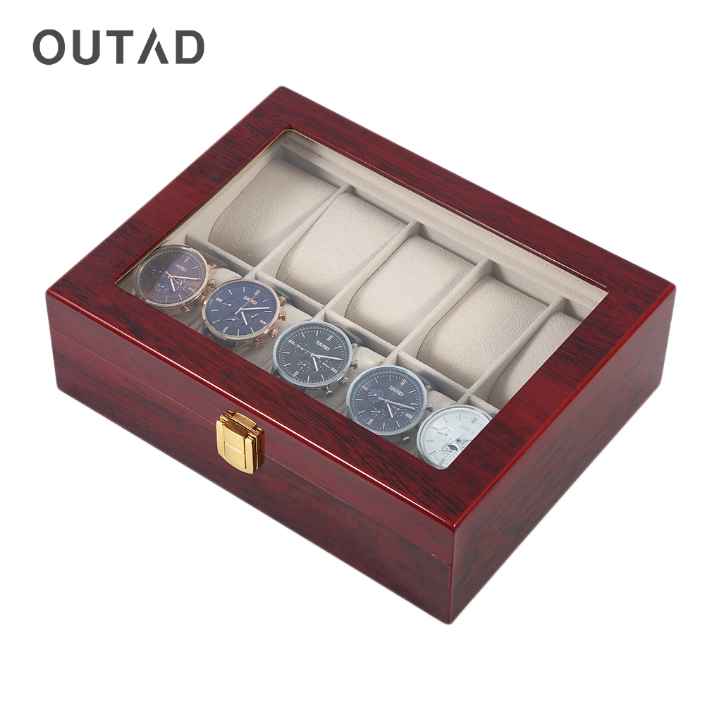 OUTAD Luxury 10 Grids Solid Wooden Watch Box Case Jewelry Display Collection Storage Case Red Caixa Para Relogio Saat Kutusu<br>