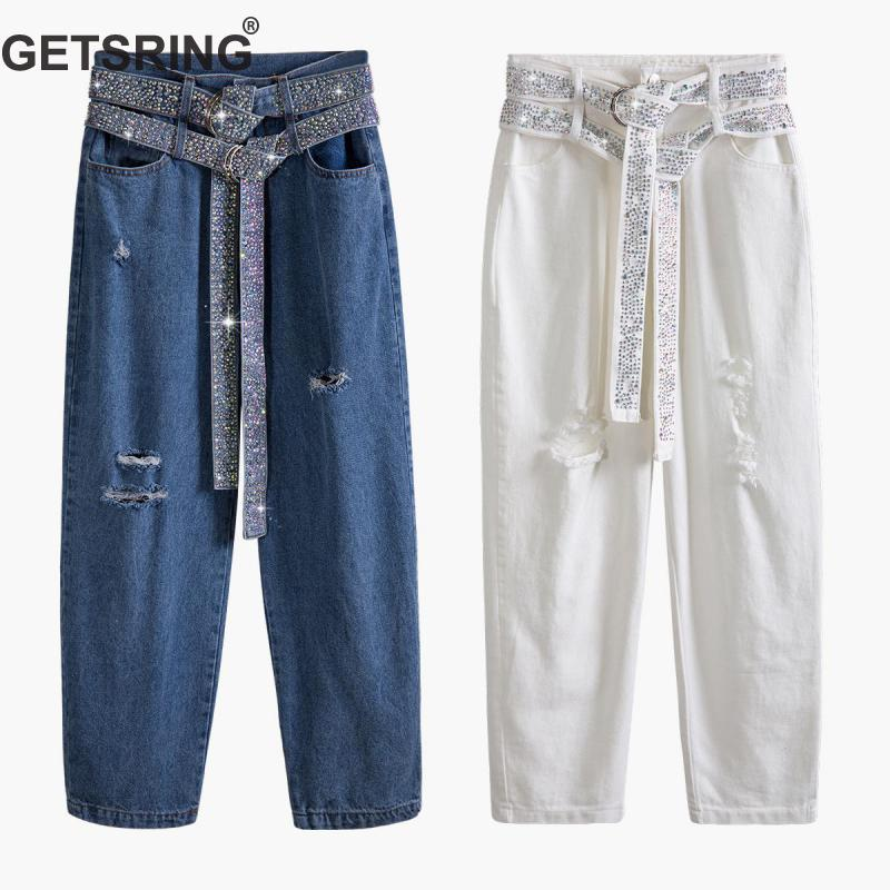 GETSRING Women Jeans High Waisted Denim Pants Hot Drill Double Belt Ripped Jeans Loose Long Denim Jeans Womens Long Trousers