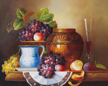 free shipping classical ceramic pot grape orange red wine fruit canvas printings oil painting on canvas art decoration picture(China)