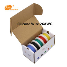 50m 26AWG Flexible Silicone Wire Cable 5 color Mix box 1 box 2 package Electrical Wire Line Copper LED cable DIY Connect(China)