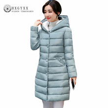Fall Winter Jacket Women 2017 New Lamb Wool Hat Cotton Parka Slim Solid Color Hooded Long Wadded Quilted Coat Plus Size Okb58(China)