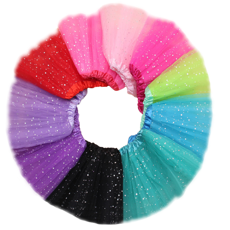 Newest Item Girls Kids Tutu Skirt Princess Party Ballet Dance Wear 3 Layers Tulle Star Glitter Toddler Girl Performance Costumes<br>
