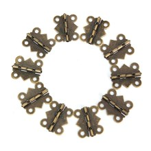 MTGATHER 2016 10Pcs/Set Zinc Metal Alloy Special Design Cabinet Door Hinge 4 Holes Butterfly Bronze Tone 20mm x17mm Best Price