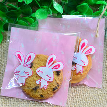100 pcs/lot Cute Pink rabbit adhesive bag cookies diy Gift Bags for Christmas Party Candy Food&Handmade soap Packaging bags