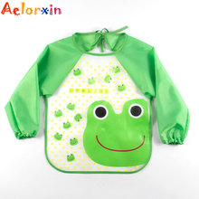 Cartoon EVA Waterproof Long Sleeve Feeding Baby Bibs Infants Art Smock Apron Baberos Bavoir Clothing for 0-3 Years Old Baby(China)