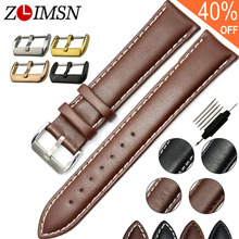 ZLIMSN Real Leather Watchband Black Brown Smooth Women's Watch Band 22mm 20mm Men's Genuine Leather Straps Belt Metal Pin Buckle(China)