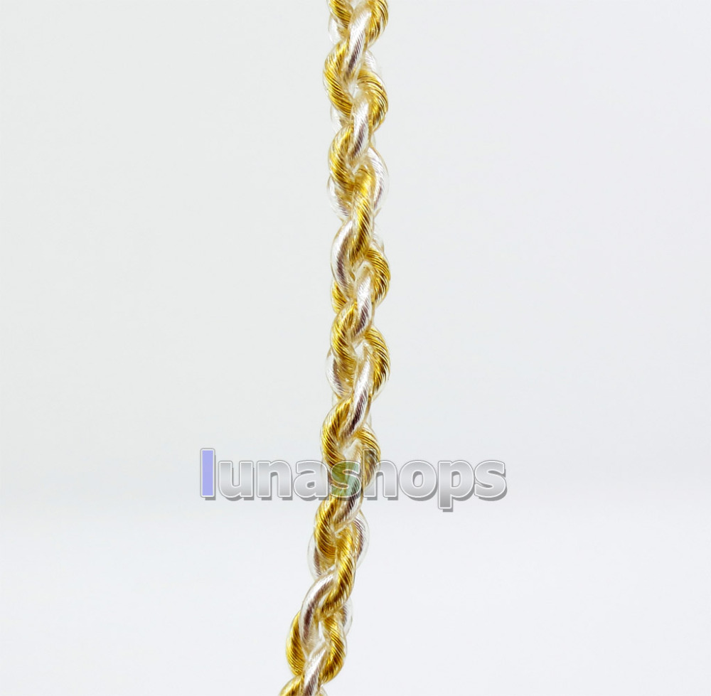 Semi-finished Extremely Soft PVC OCC Golden + Silver Plated Mixed Bulk DIY Earphone Cable Wires LN005914