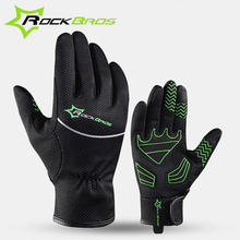 Rockbros Cycling Riding Men Anti-shock Thermal guantes MTB Road Bike Bicycle Winter Full Finger Windproof Teach Screen Gloves