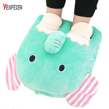 40cm Cartoon Winter foot warm plush toys Stuffed Plush animals pillow soft cushion elephant/cat/duck doll(China)