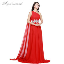 Angel married SIMPLE red Evening Dresses one shoulder prom gowns chiffon  beaded womens formal party dress vestido de festa 2018 d3812135d513
