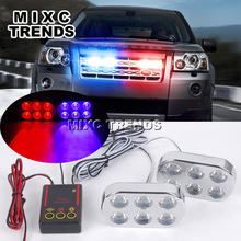 2X6 LED Strobe Flash Fog Lights 12V Red Blue Car truck Motorcycle Police Warning Emergency light Bar