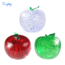 COOLPLAY Glitter Plastic Crystal 3D Puzzle Clear Football Model Apple Building Puzzle Toys for Kids