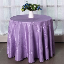 High quality solid color jacquard tablecloth elegant design home hotel and catering wedding round table cloth Home Table