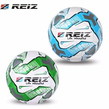 REIZ Soccer Ball Standard Official Size 5 Premium PU Leather Football Outdoor Training Competition Soccer Ball Sport Equipment