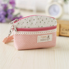 Women polka dot organizer mini wallet ladies sanitary napkin package key money bag small pouch carteira bolsa feminina for girls
