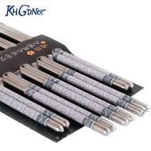 5 Pairs/set Chinese Chopsticks Flower Print Stainless for Kitchen Restaurant(China)