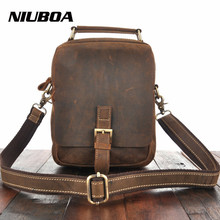 Men's Genuine Leather Shoulder Bag Crazy Horse Cowhide Crossbody Bag For Woman and Man Small Messenger Bag Thick Leather Handbag