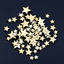 100Pcs Mixed Star Shape Wooden Buttons DIY Scrapbook Craft Clothing Decor Button  6NBB