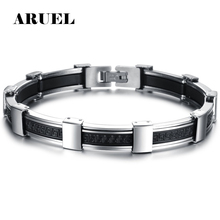 Buy ARUEL Classic Punk Men Bracelets Fahsion Male Charm Jewelry Black Bangles 316L Stainless Steel Silicone Bracelet Pulseras Gifts for $4.32 in AliExpress store