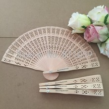 Free Shipping 100pcs/lot fragrance wood fan Chinese style wedding fan with bride & groom's name & wedding date personalized