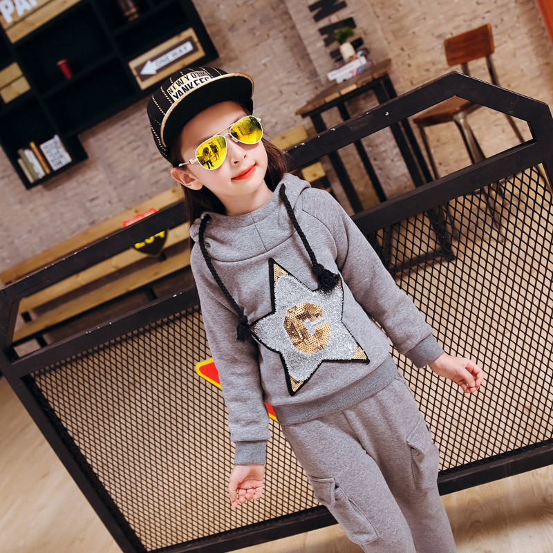 Autumn Winter Two Pieces Sets Girls Thickened Korean Children New Cartoon Kids Clothing Suit Cotton Red Grey Black<br>