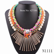 2017 High quality fashionable winter new design pearl necklace rope chain crystal chunky handmade necklace women wholesale