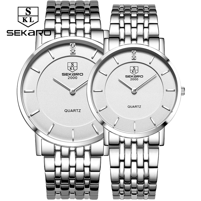 New couple quartz watches sekaro stainless steel bracelet table student 6mm ultra-thin waterproof men and women fashion watches<br>