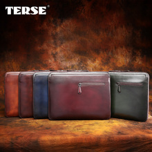 TERSE_Big portfolio men handmade leather business laptop bags high quality genuine leather thin clutch bags factory to customer