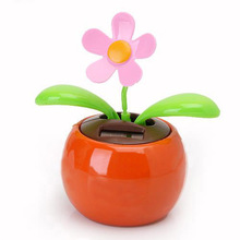 Flip Flap Solar Powered Flower Flowerpot Swing Dancing Toy Novelty Home Ornament - Orange
