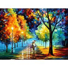 Modern Palette knife canvas oil painting landscape pictures night alley art for home wall decoration
