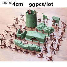90pcs Soldier Military Action Figure Mini 4cm Plastic Soldier Military Set with Military Scene Model Best Gift for Boys Children