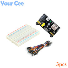 3 pcs 3.3V/5V Breadboard power module + 400 points Solderless Prototype Bread board kit + 65 Flexible jumper wires