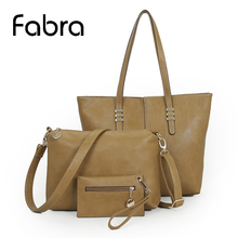Fabra Ladies Handbags Casual Women Messenger Bags 3Pcs/Lot Quality PU Leather Large Cross Body Shoulder Composite Bag 41x9x31 CM
