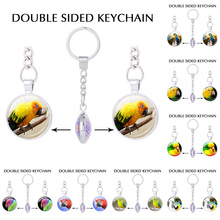 Cute couple key chains Beautiful Parrot keychain Zoo jewelry best friend jewellery lucky amulet double sided charm chaveiro(China)
